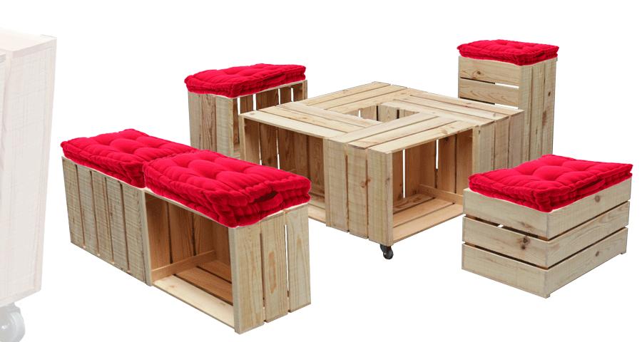 table basse 4 caisses alv. Black Bedroom Furniture Sets. Home Design Ideas